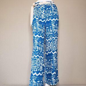 Umgee   Blue Geometric Tie Waist Wide Leg Pants S